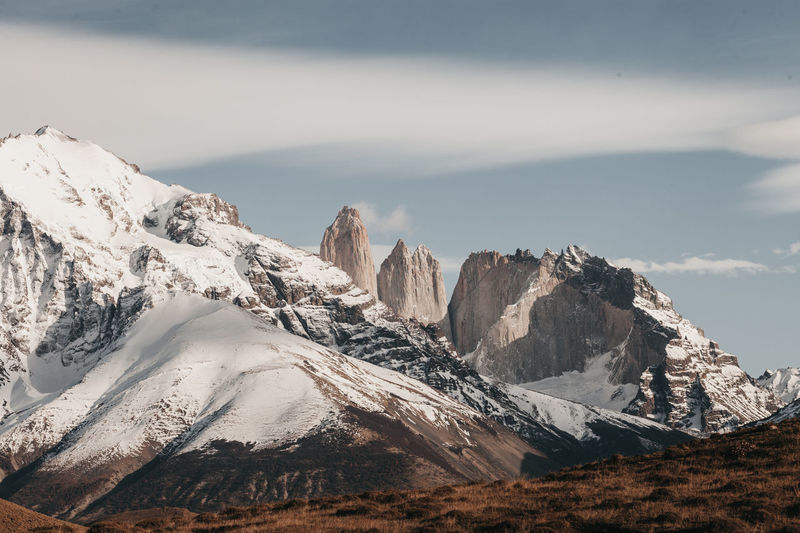 Chile Nature Adventure Landscape Mountain Mountain Peak Torres Del Paine Travel Destinations