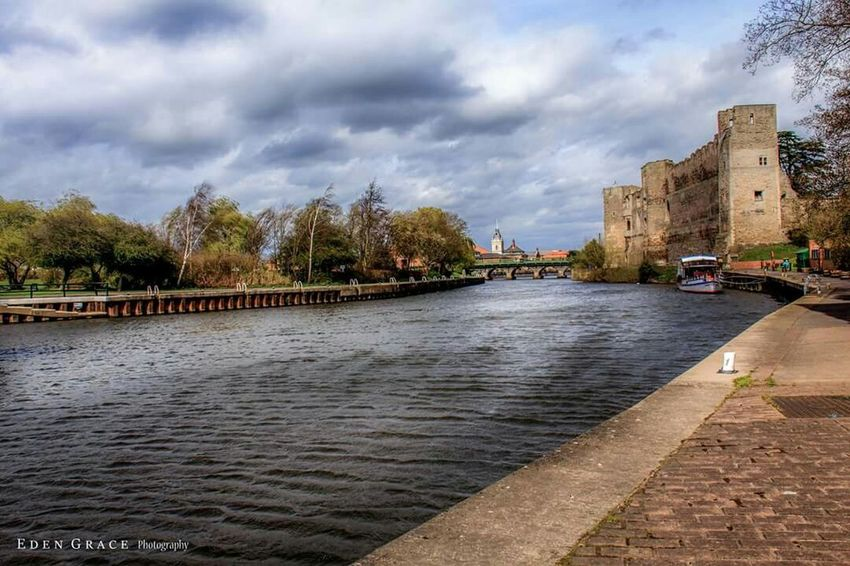 Castle Riverside River Trent Newark Clouds Water