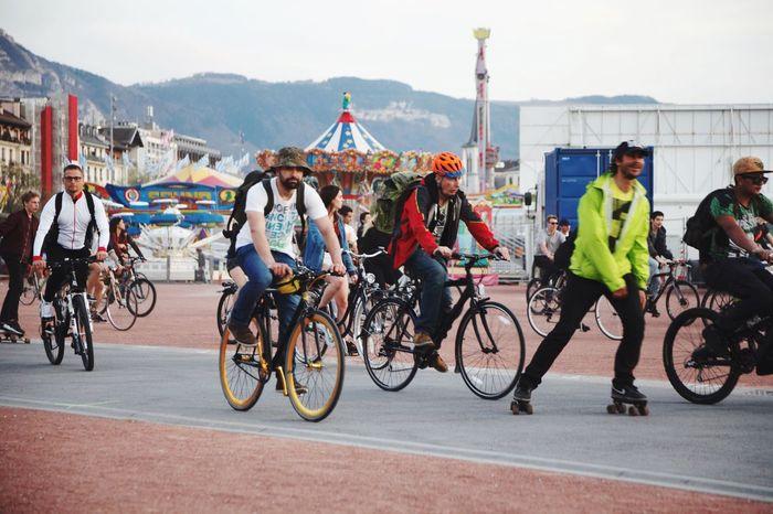 Real People Bicycle Geneva Switzerland Large Group Of People Outdoor Activity Biking Around Biking