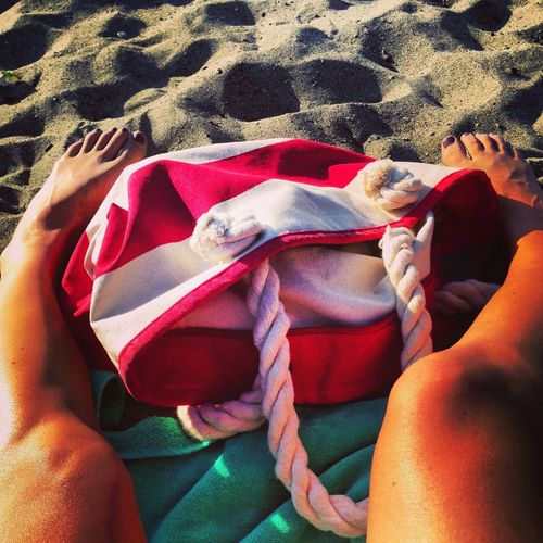 Beachbag Sandbetweenmytoes Beachphotography Person Personal Perspective Low Section Lifestyles High Angle View Leisure Activity Vacations Relaxation Human Foot Day Blanket Pink Color Feetselfie