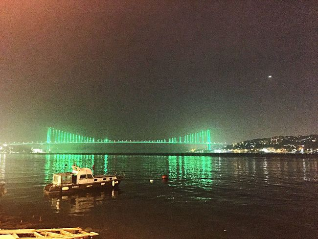 İstanbul bogazi🤽🏽‍♂️ Istanbul Boğazı Boshphorus Istanbul Turkey🙈😊 Türkiye Green Color Water Nature No People Illuminated Night Transportation Land Sea Sky Built Structure Architecture Beach Outdoors Building Exterior