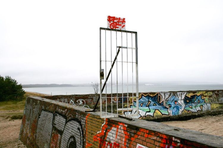No admittance … Seaside Seascape Wall Art Grafitti Streetart Gate No Trespassing Prora Rügen Historical Building Landscape