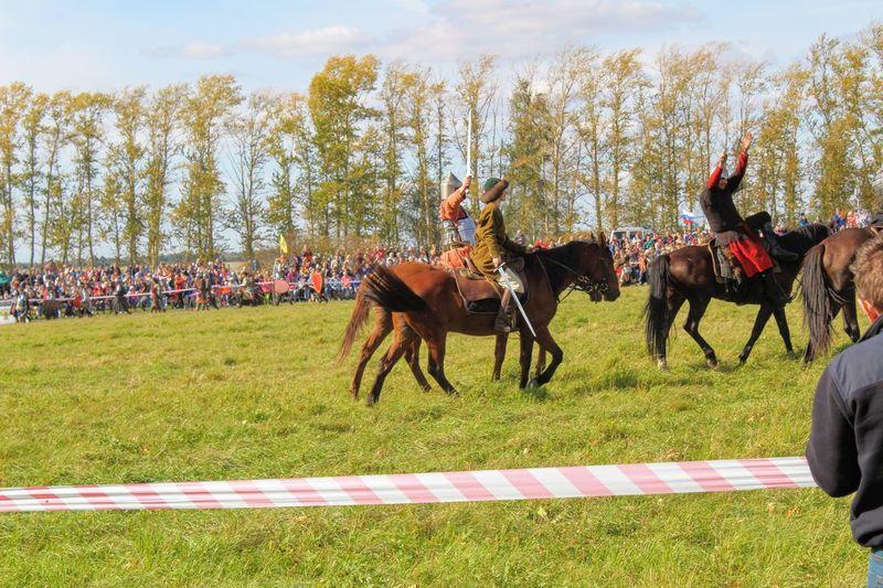 Horses running on field against sky