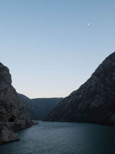 Canyon of Neretva river in Bosnia and Herzegovina Beauty In Nature Blue Bosnia And Herzegovina Calm Canyon Dusk Evening Landscape Moon Natural Nature Neretva No People Nobody Outdoors River Scenic Scenics Tourism Travel Travel Destinations View Water