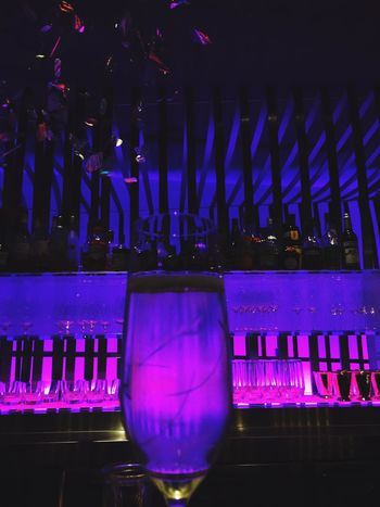 Illuminated Arts Culture And Entertainment Night Indoors  No People Nightclub Close-up Purple Wine Glass 11/27, 2016🌦 慌ただしい午後。画像は昨夜のbarで🍾