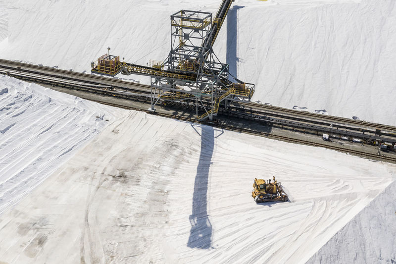 High angle view of machinery on snow