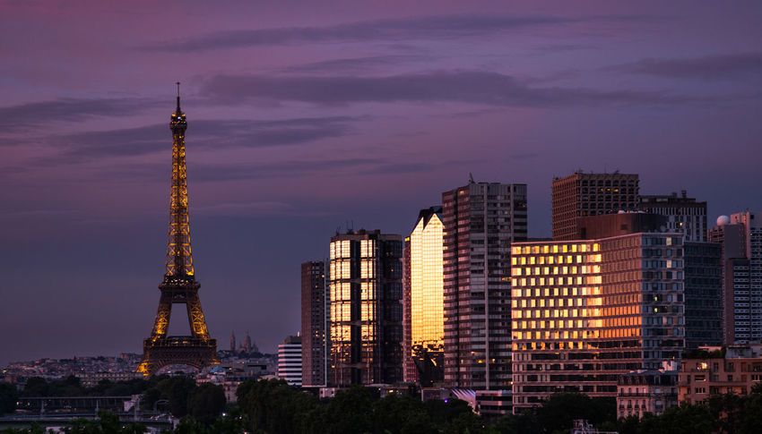 Beauty In Nature City City Of Love Cityscape France Illuminated Moody Sky No People Paris Reflection Sky Summersunset Sunset Tourist Attraction  Tourist Destination Travel Destinations Urban Skyline Wide Shot