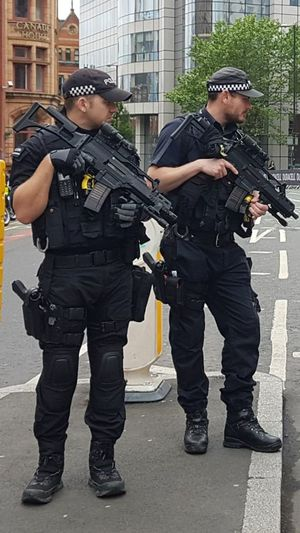 Police Force Only Men Full Length Standing Adult Gun People Men Adults Only Protection Two People Mature Adult Justice - Concept Special Forces Police Uniform Weapon Uniform City Manchester UK First Half Marathon 28/5/17