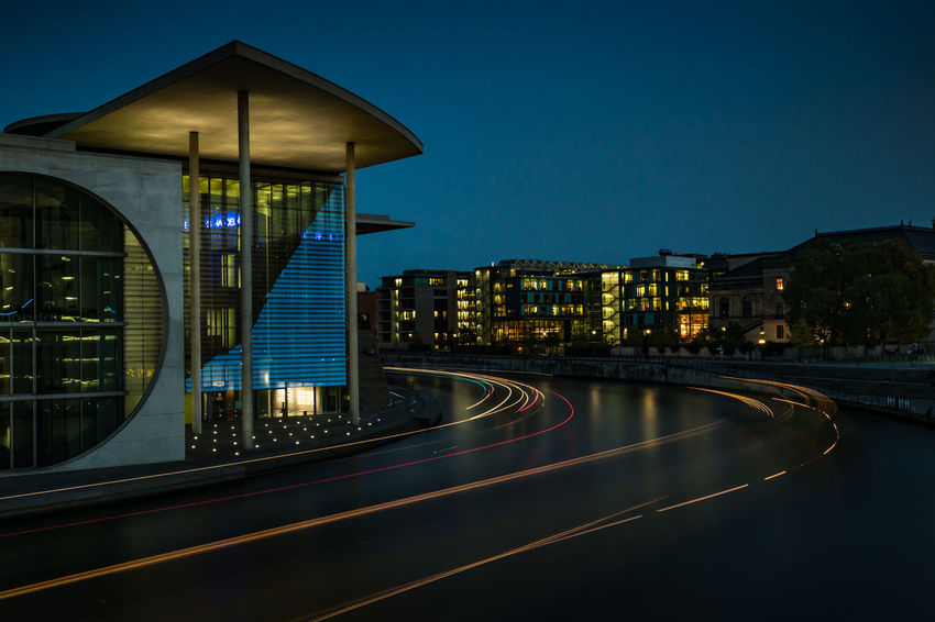 Marie-Elisabeth-Lüders Building at night Berlin Berlin Love Berlin Mitte Berlin Photography Deutscher Bundestag Government Building Marie-Elisabeth-Lüders-Haus Marie-Elisabeth-Lüders-House Nightphotography Architecture Blue Building Exterior Built Structure City Clear Sky Illuminated Light Trail Long Exposure Motion Night No People Outdoors River Sky Transportation First Eyeem Photo