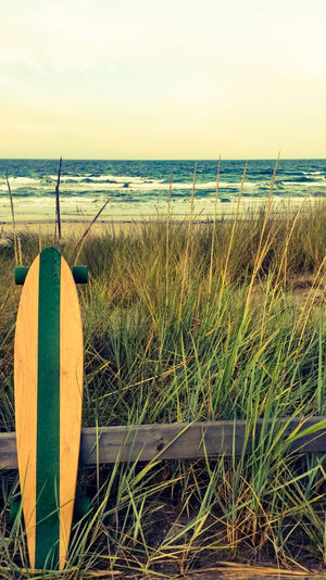 Baltic Sea Longboard Skateboard Skateboarding Water Sea Beach Sand Protection Safety Sky Horizon Over Water Grass Close-up Lifeguard  Wooden Post Tranquil Scene Ocean