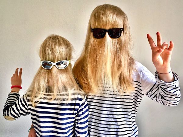 masked. Hamburg_AN Undercover Mask Hamburg Hamburgmeineperle Hairstyle Hair 2 Girls Selfies Faces Sunglasses Girls Portrait Childhood Blonde Blond Hair Sisters Daughters Sunglasses People Fashion Glasses Togetherness Human Body Part Fun Two People Striped Real People Gesturing Females