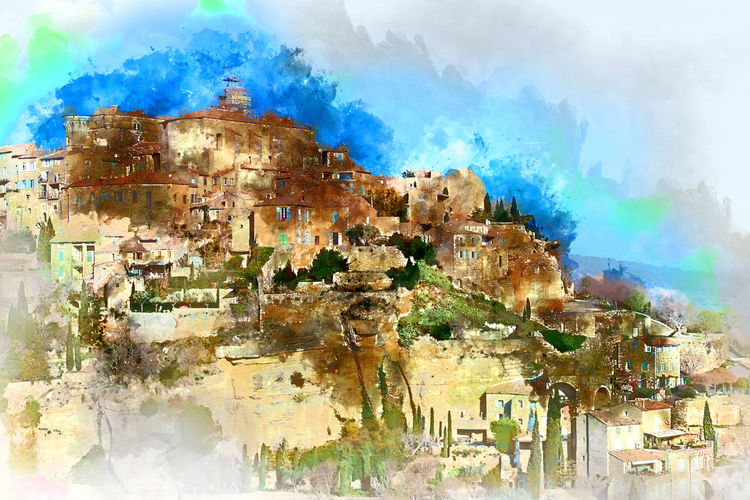 Digital watercolor painting of Gordes, is a very beautiful hilltop village in France. Provence-Alpes-Cote d'Azur region Provence-Alpes-Cote D'Azur Abstract Altered Ancient Architecture Art ArtWork Computer Generated Digital Art Digital Drawing Digital Illustration Digital Painting Digitally Generated Europe France Gordes Graphic Hilltop Illustration Landmark Landscape Nature Outdoors Vaucluse Village Watercolor