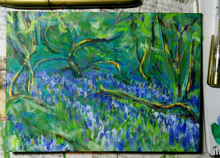 ... Bluebells starting to appear. .. Work In Progress Painting Acrylic Canvas Art ArtWork Acrylic Painting Spring Work Working Miniature Brush Strokes On Canvas Blue Green Creativity No People Multi Colored Day Outdoors Hazelwood Wales рисунок рисую