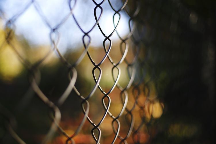 Close-up of chainlink fence on field