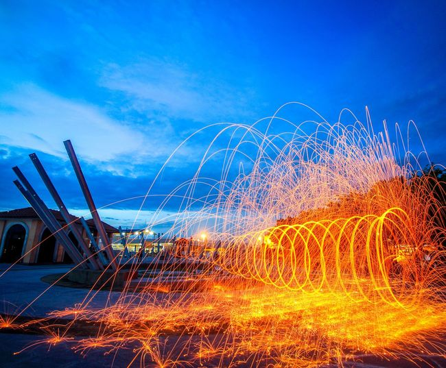 Steel Wools Spinning in the dawn hours. Sunrise Sunset Sparks Fireworks Firework Display Firework - Man Made Object Sky Water Long Exposure Outdoors Motion No People Nature Power In Nature Spraying Day Illuminated