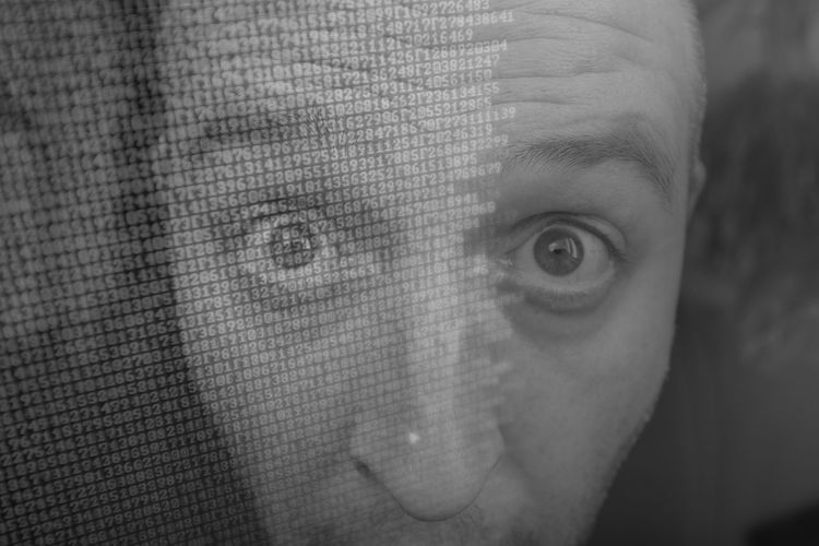 Close-Up Portrait Of Man With Coding