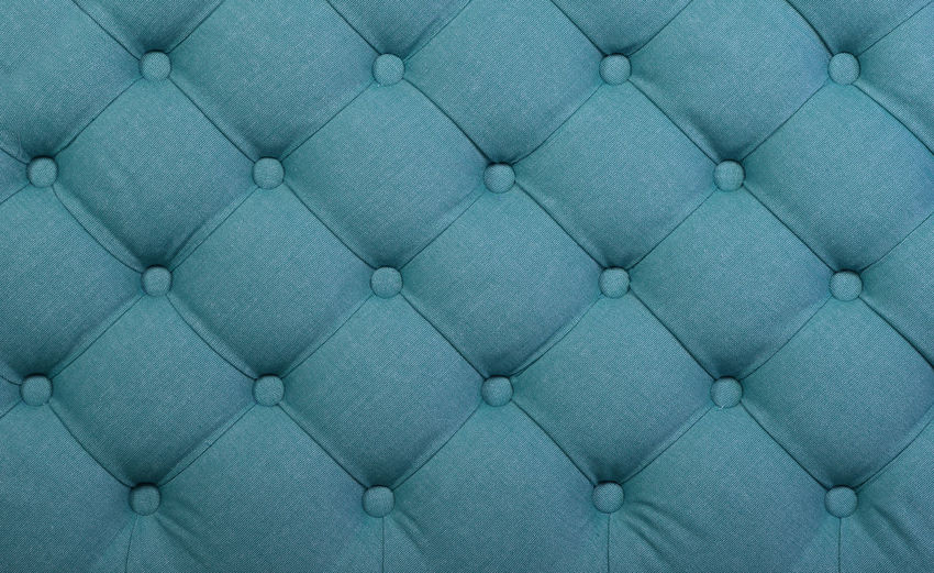 Teal blue capitone textile background with buttons Green Soft Teal Upholstery Backgrounds Blue Capitone Chesterfield Sofa Close-up Decoration Fabric Full Frame Interior Interior Design Material Pattern Studio Shot Symmetry Textile Textured  Tufted Turquoise