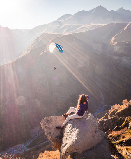 Landscape Landscape_Collection Landscape_photography Paragliding Extreme Sports Mountain Sport Adventure Snowboarding Skill  Sunlight Men RISK Parachute Skydiving Ski Holiday