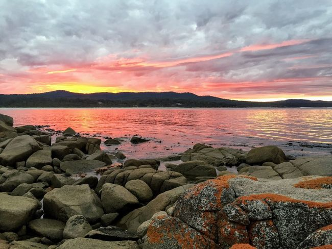 Tasmania Australia Australian Cloud - Sky Sky Water Sunset Beauty In Nature Scenics - Nature Tranquility Solid Orange Color Sea Idyllic Non-urban Scene Rock - Object Outdoors Tranquil Scene Nature Rock No People Land Environment