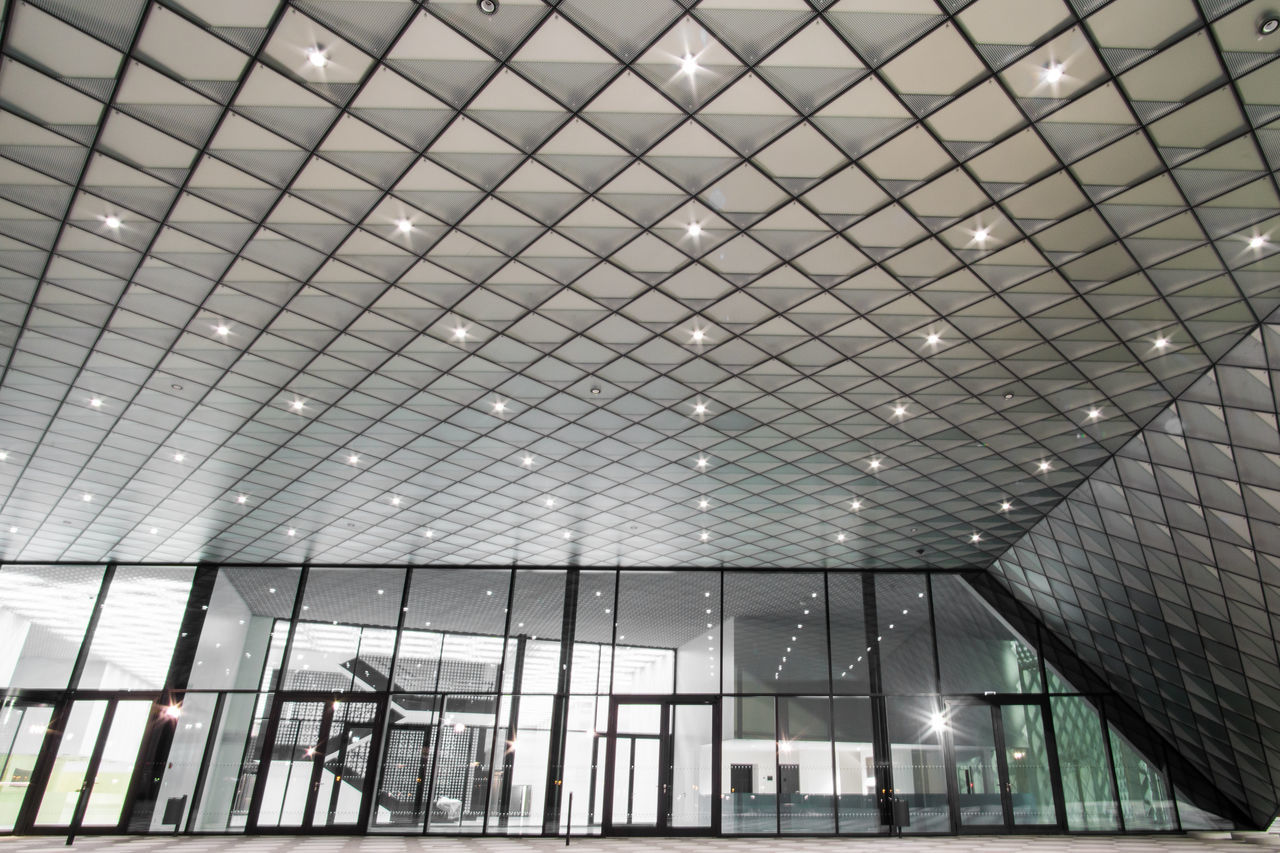 indoors, architecture, ceiling, built structure, illuminated, no people, low angle view, day, building exterior