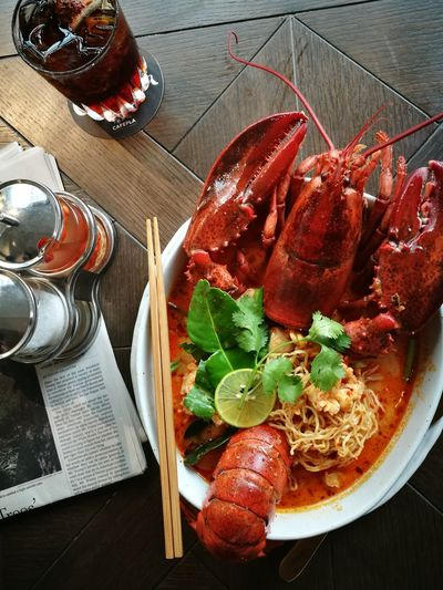 Noodle soup with creamy Tom yum Lobter. Foodpic Foodie Foodpornsg Foodilicious Tomyum Noodle Lobsters Thailand Thai Food Food Stories Food And Drink High Angle View No People Freshness Food