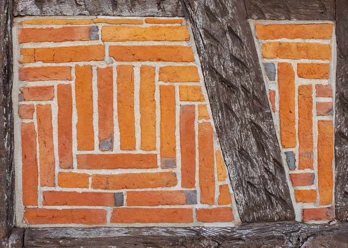 Wood and stone Architecture Built Structure Brick Wall Brick No People Wall Wall - Building Feature Building Exterior Day Orange Color Pattern Outdoors Textured  Staircase Full Frame Old Steps And Staircases Building Multi Colored Brown Timered Wood And Bricks Wooden