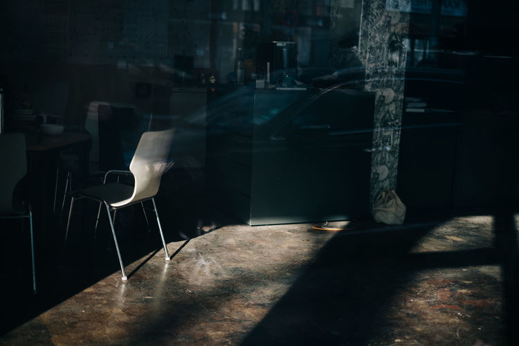 Room with light Shadow Seat Sunlight Chair No People Nature Architecture Absence Built Structure Empty City Outdoors Dark Window Table Glass - Material