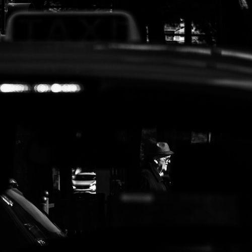 Close-up of car at night