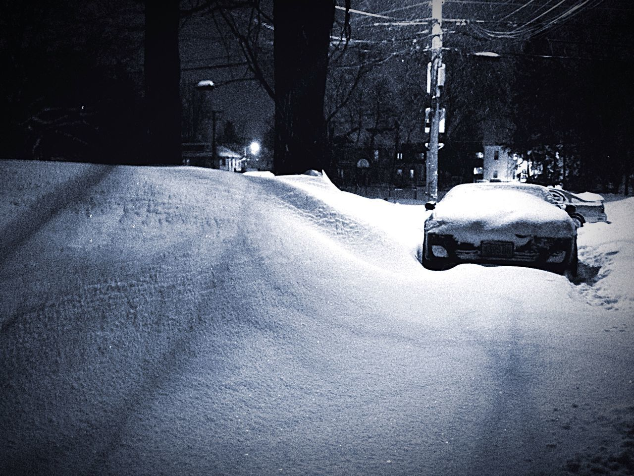 snow, winter, transportation, cold temperature, land vehicle, weather, mode of transport, street, car, road, outdoors, night, nature, no people, architecture