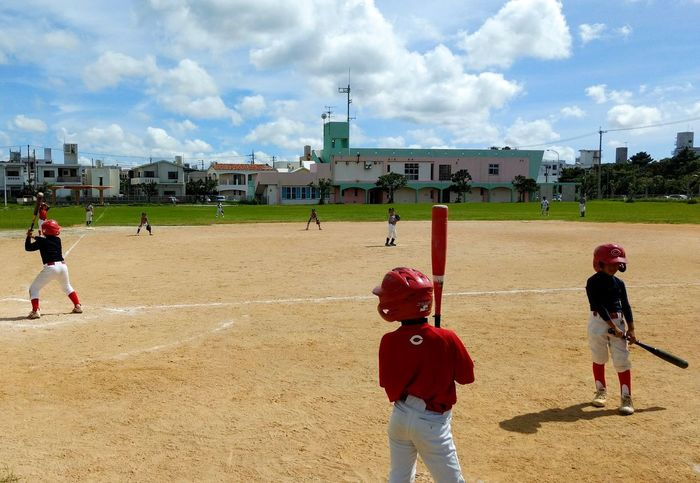 Cloud - Sky Boys Playing Sport Sky Child Childhood Day Leisure Activity Baseball - Sport Practicing Lifestyles Baseball Player Outdoors Real People Playing Field Baseball Bat Building Exterior Sand Competition