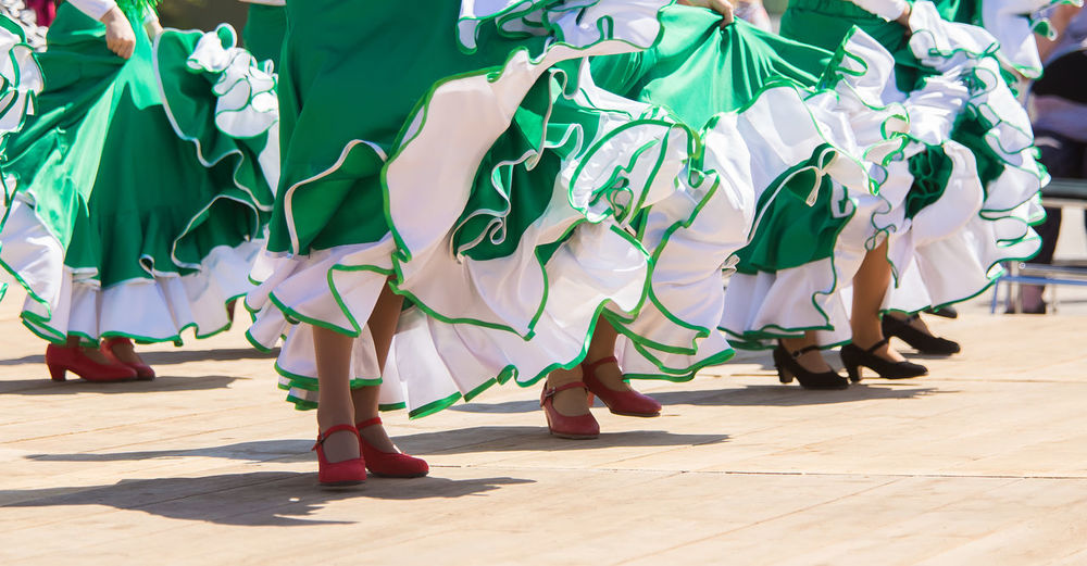 A women in colorful dresses dancing flamenco Colors Dancing Dress Flamenco Feet Low Section Real People Women