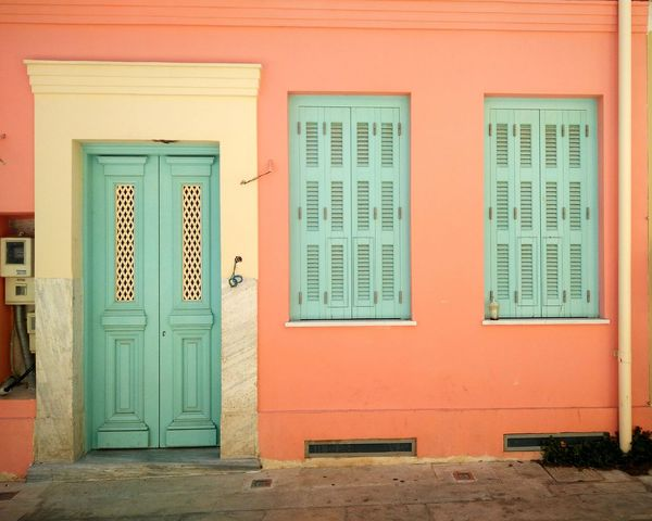 Colored House Colored Door Old Town Athens Greece Plaka