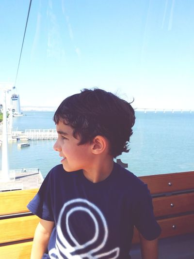EyeEm Selects Water Childhood Children Only Clear Sky Vacations Outdoors Boys Sky Blue One Boy Only Sea Child Tagus River Parque Das Nações The Week On EyeEm