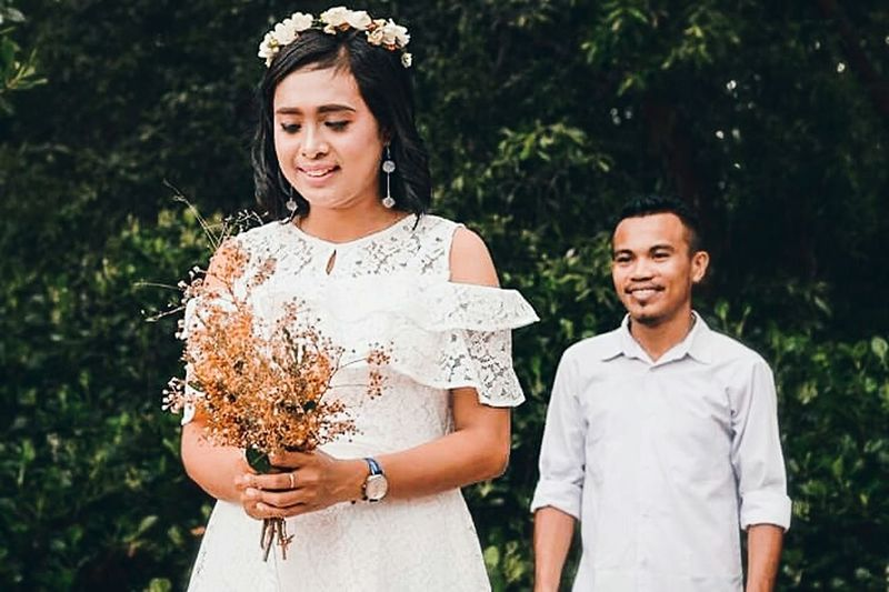 Young Women Bride Togetherness Happiness Tree Women Headdress Wedding Dress Portrait Individuality Wearing Flowers Couple