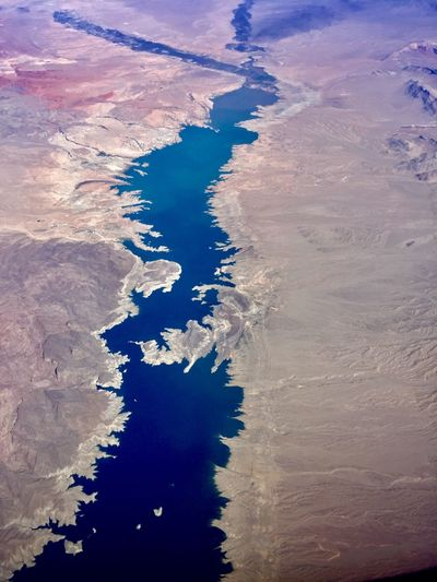 Lake Mead Water Beauty In Nature Tranquility Scenics - Nature No People Nature Tranquil Scene High Angle View Aerial View Sky Non-urban Scene Land Remote Outdoors Travel Cloud - Sky