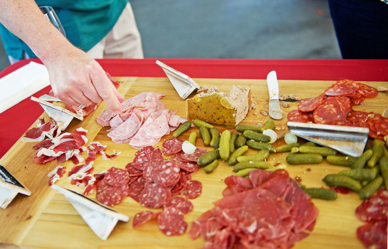 Charcuterie platter Appetizer Charcuterie Close-up Food Freshness Meat Ready-to-eat Selective Focus Unrecognizable Person