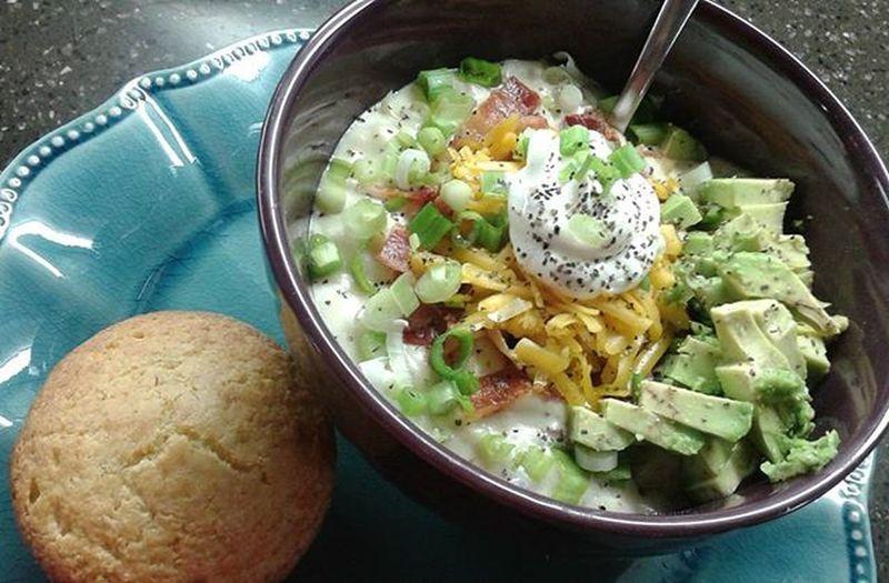 A big bowl of Fullyloaded BakedPotatoSoup !!! ItsWhatsForDinner ItsBacoooon AvocadoGoesWithEverything ILoveYouCornbread ItsFallYall