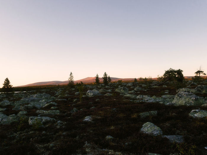 Scenic view of rocks against clear sky during sunset