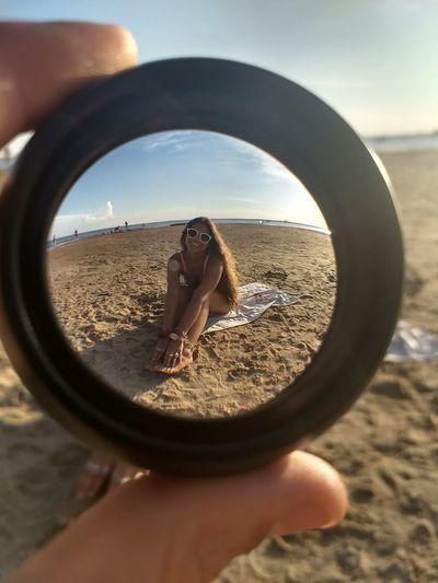 I see you Beach Sea Water Sand Sand Dune Sunlight Reflection Fish-eye Lens Camera - Photographic Equipment Lens - Optical Instrument Lens - Eye Optical Instrument Horizon Over Water