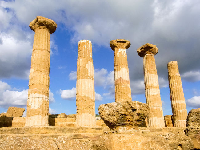 Columns of the Temple of Heracles in Agrigento Agrigento Ancient Architecture Building Columns Doric Five Greek Heracles Heritage Italy Landmark Monument Outdoors Ruins Sicily Sky Sunny Temple Temple Of Heracles Tourism Touristic Unesco Valle Dei Templi Valley Of The Temples