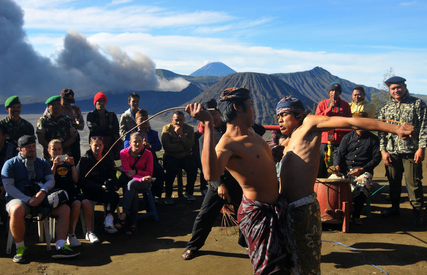 Ujung Dance is a traditional Tenggerese dance, in the mountain area of Bromo Dance Art Bromo Mountain Culture Inonesia Men Mountain People Real People