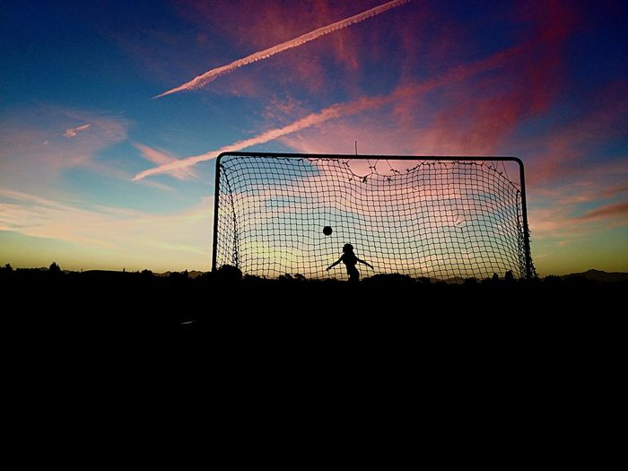 Silhouette Sunset Sport Soccer Beauty In Nature Sky First Eyeem Photo