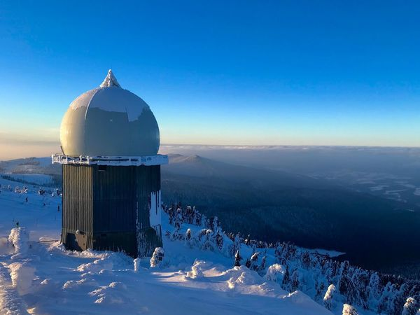 Radar Dome Military Winter Communication Sky Blue Architecture Building Exterior Nature Built Structure Dome Clear Sky