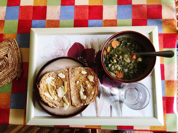 Soup Homemade Vegetable Soup Kale Healthy Eating Wholemeal Bread  Toast🍞 Glass Glass Of Water Tray Check Pattern
