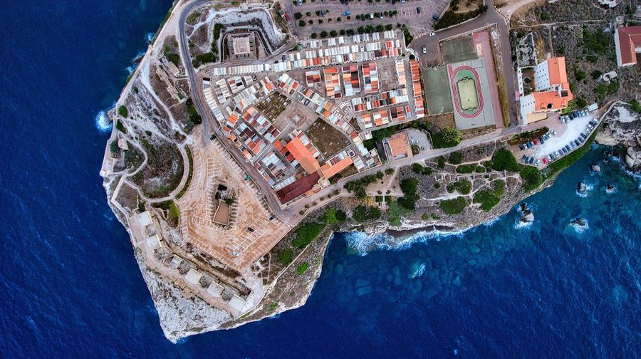 Aerial view of bonifacio surrounded by sea