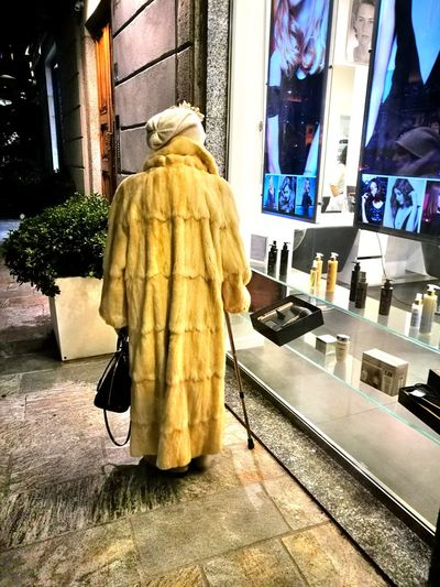 Built Structure Indoors  One Person People Women Lifestyles Outdoors My Year My View Always Be Cozy Exploring Style Nightlife Adult Aged Fur Walking Walking Cane Old Woman Back View Finding New Frontiers