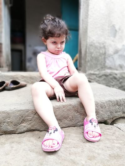 Babygirl ♥ Angry She Is Amazing Lovelybaby She Is So Freaking Cute She Is Angry? Love ♥ Village Life Village Photography EyeEm Selects Full Length Childhood Sitting Child Pink Color Portrait Shoe Sandal Babyhood Baby Clothing First Eyeem Photo