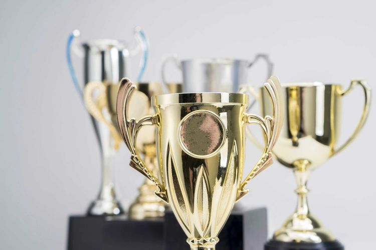 Variety of Trophy Cup on white background Metal Still Life No People Trophy AWARD Indoors  Close-up Focus On Foreground Success Achievement Studio Shot Winning Wall - Building Feature Silver Colored Shiny Gold Colored In A Row Group Of Objects Gray Table Steel Alloy