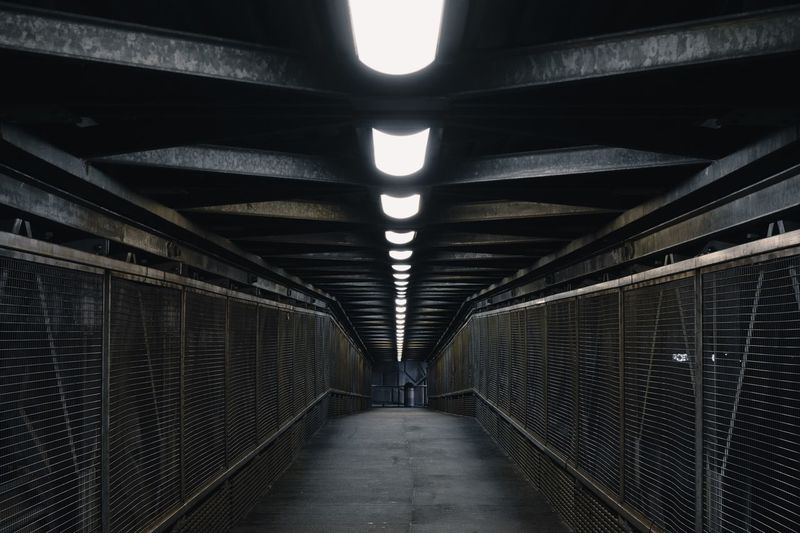 Architecture The Way Forward Indoors  Direction Built Structure Diminishing Perspective Lighting Equipment No People Ceiling Illuminated Transportation Public Transportation Building Tunnel Day Subway Light Pattern Arcade Fluorescent Light