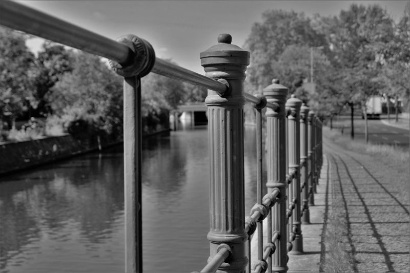Bollard Built Structure Canal Day Diminishing Perspective Focus On Foreground Footpath Metal Nature Outdoors Pedestrian Walkway Pole Railing Sky Sunny Day Tranquil Scene Tree Water Street Photography Streetfotografie City Street Black And White Black And White Photography